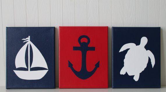 Nautical Nursery Decor Sailboat Nursery Sea Turtle Nursery Anchor Navy Red White Nautical Bathroom Art Nautical Painting