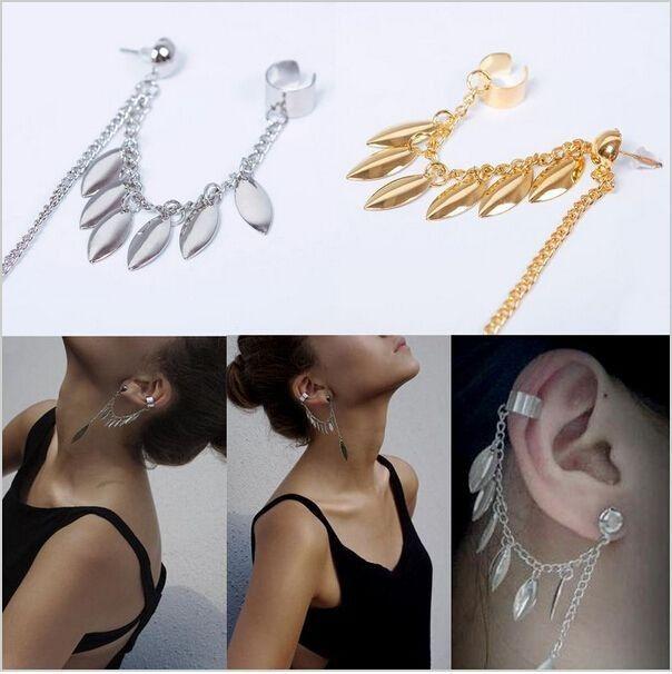 #GOTHIC PUNK, #TRENDY #LEAF TASSEL #CHAIN EAR CUFF ,EAR CLIP #EARRING : GOLD #PLATED