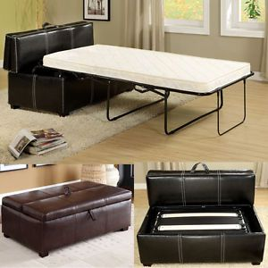 Black-Brown-Leatherette-Storage-Ottoman-Bench-Twin-Foldable-Bed-Sleeper-Mattress