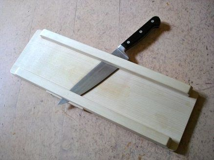 Make a knife-mandoline - can keep the knife blade sharpened