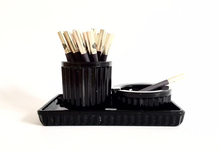 Black glass set (tray, container for cigarettes and ashtray) on the desk, the '60s. #forsale #ashtray #tray #containerforcigatettes #cigaret #glass #black #interiordecor #60s #decor #retro #styling #inspiration #fleamarket #fleamarketfinds #vintage #vintagedesign #vintagedecor #vintagestyle #vintagestore #vintagefinds #vintagestuff #oldstuff #antiqueshop #antiquefinds #oldshop #starysklep #oldshopstarysklep #krakow #cracow