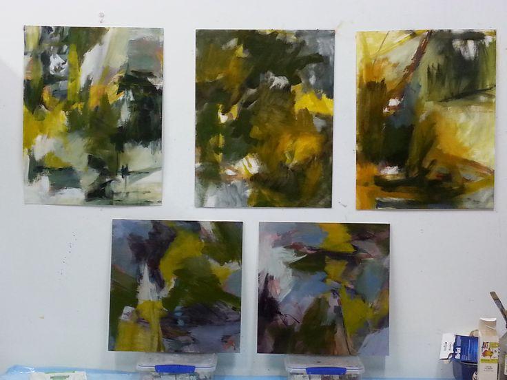 oil works on paper and board by Gail Barfod studio shot https://www.facebook.com/gailbarfodartist