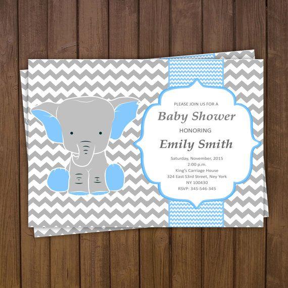 Elephant Baby Shower Invitation Boy Elephant by TheCutePaperStudio