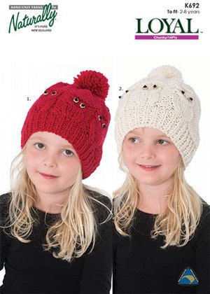 Naturally K692 Owl Hat. 2-4 years & 6-8 years. Knit in chunky(#5) weight yarn.
