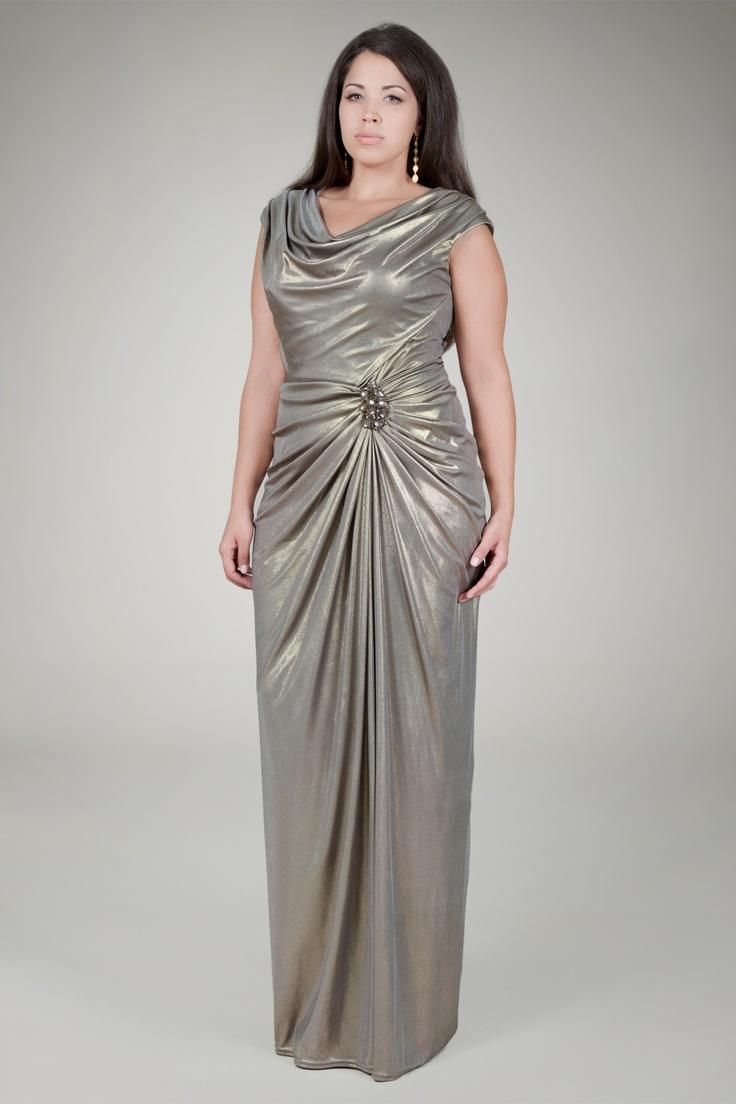 Metallic Jersey Draped Evening Gown Plus Size Tadashi Shoji