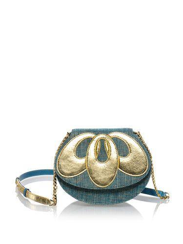 Image of Green-golden Lotus Full-grain Leather Fold-over Flat Top Shoulder Bag