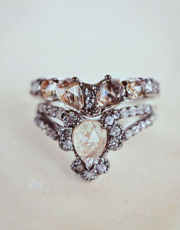 Immortalia by ManiaMania Ritual Solitaire Ring & Sacred Wedding Band - Deer Pearl Flowers
