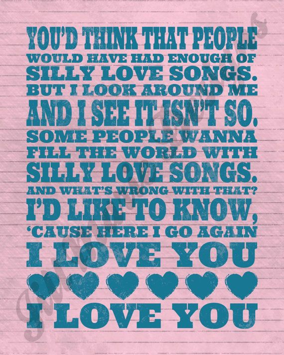 Silly Love Songs Printable - Two Color Options