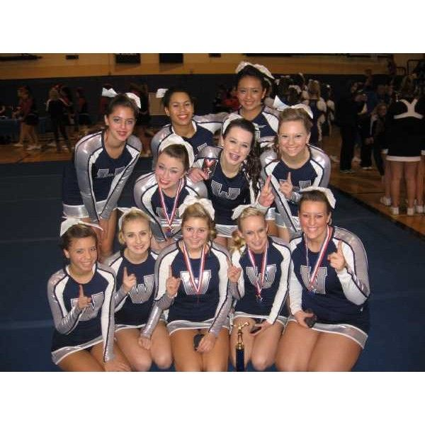 Wilsonville High School Cheerleading - (Wilsonville, OR) - powered by... ❤ liked on Polyvore featuring cheerleading, cheer and sport