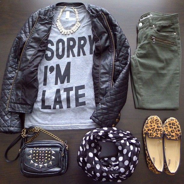 "edgy. graphic tee, leather jacket, olive skinnies and leopard loafers ""sorry im late shirt"" HAVE to find!"