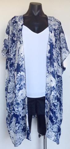 Blue Floral Georgette Kimono