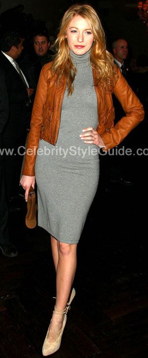 Blake Lively Style and Fashion - Ralph Lauren Black Label grey cashmere  sweaterdress - Celebrity Style