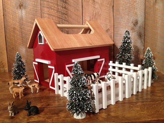 Kids Hardwood Toy Barn with Handle by TheSquareNail on Etsy