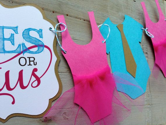Ties or Tutus gender Reveal baby shower Banner/ by papermeblossom