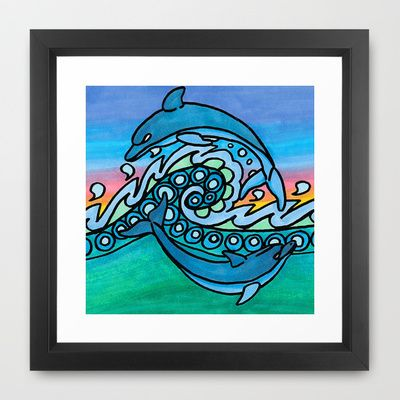 Dancing Dolphins Framed Art Print by Papercut Prints - $34.00