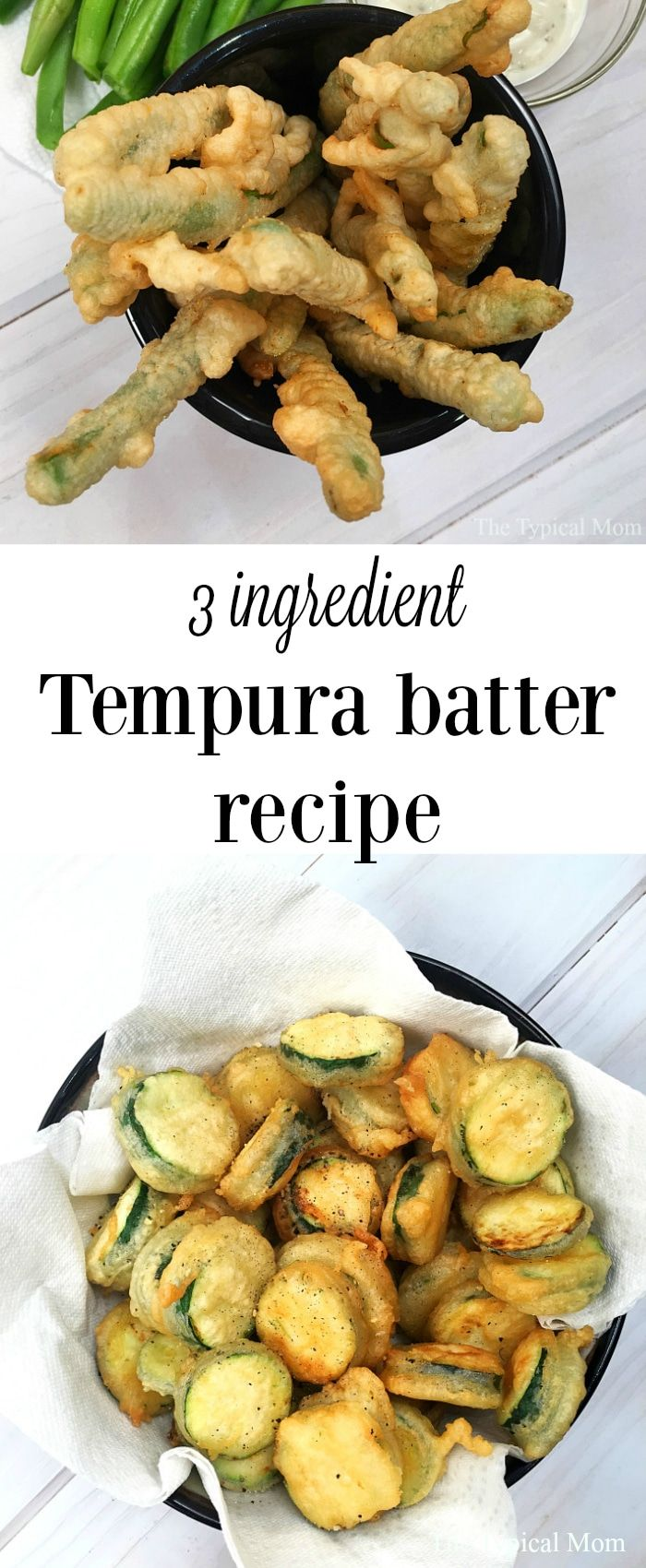 Recipe for tempura batter that just takes 3 ingredients! Make shrimp tempura, fried green beans, and vegetables at home. Great way to make a side dish! via @thetypicalmom