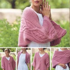 One shrug, five ways, just love this versatile design! Free pattern as part of a free ebook containing 7 cable patterns
