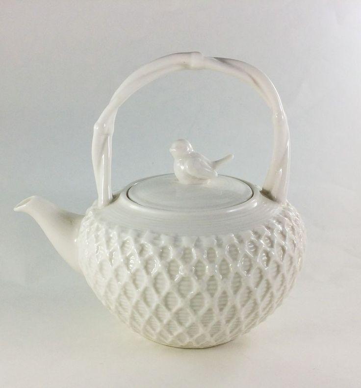 Graces Teaware Teapot Lid Set Ivory Victorian Bird with Lattice  #GracesTeaware