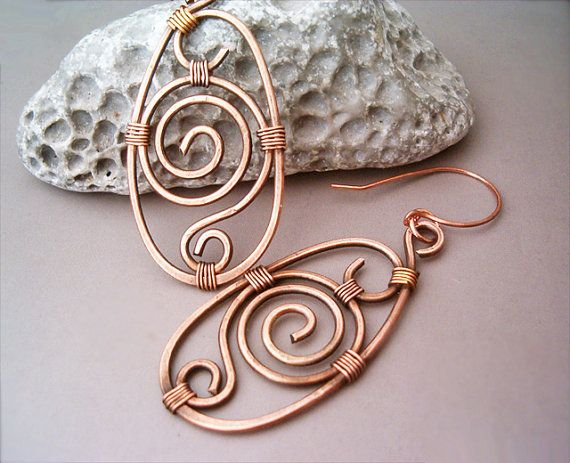 Hey, I found this really awesome Etsy listing at https://www.etsy.com/listing/175178859/wire-wrapped-earrings-old-looking-copper