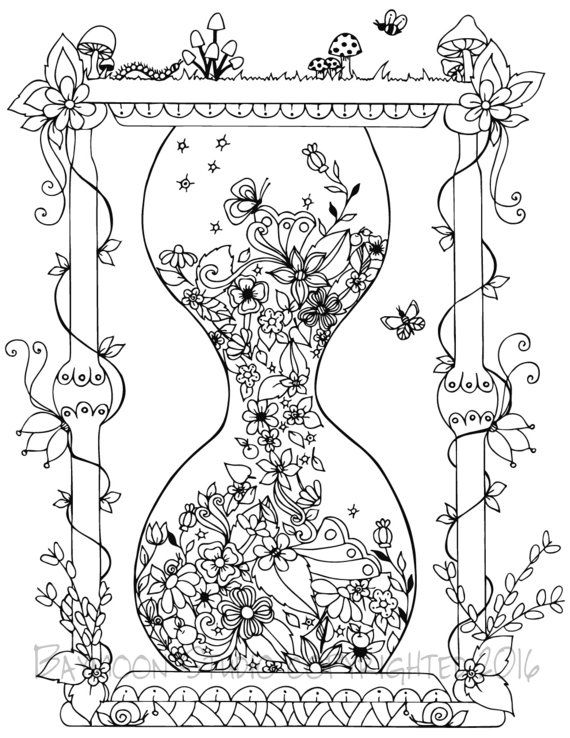 Garden Hourglass Coloring Page, Printable Coloring Pages, Adult Coloring Pages…