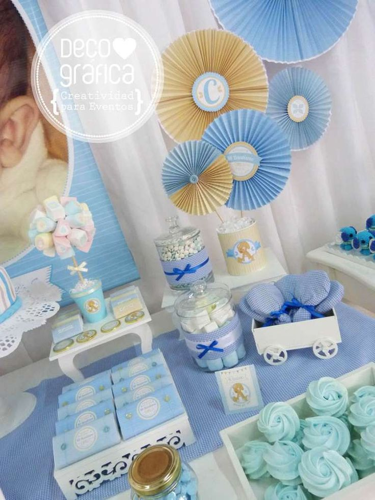 Baby shower table decorations candy table for baby shower decoration - Las 25 Mejores Ideas Sobre Decoracion Bautismo Varon En