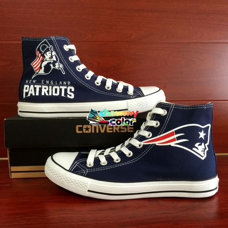 cool NFL Converse Shoes High Top Hand Painted New England Patriots Super Bowl Sneaker Blue Canvas Shoes     The size option is  MENS US Size,if you need the women size, please convert the women size into men size by referring to the size chart above. We offer kids converse, too, if t119