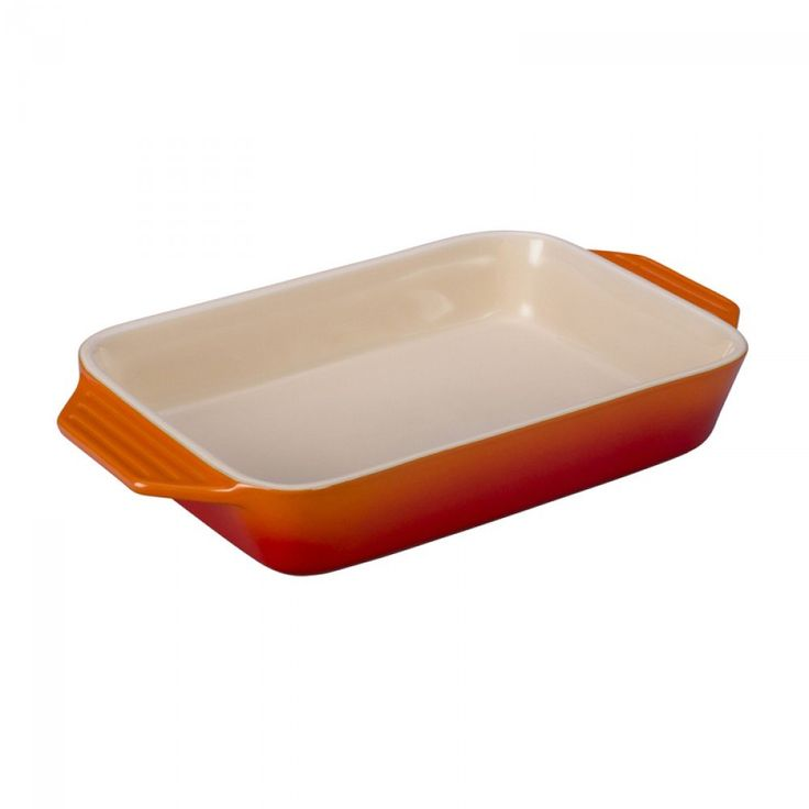 Le Creuset Stoneware Rectangular Dish - Flame | This flame orange dish is safe for the freezer, microwave, oven, broiler and dishwasher. #lecreuset #kitchen