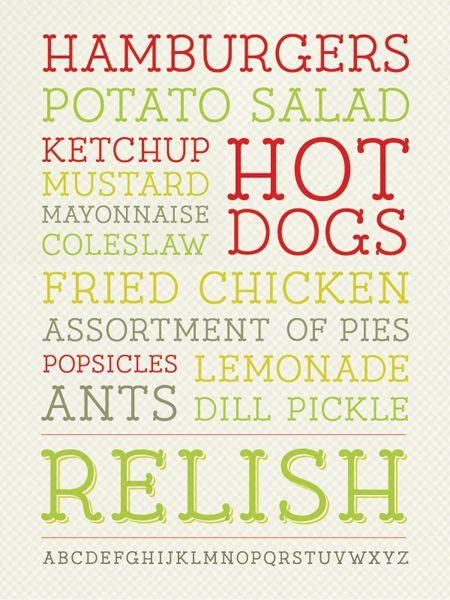 Relish font: Ketchup Mustard, Summer Food, Fun Food, Subway Art, Summer Picnics, Pretty Fonts, Display Typefac, Food Signs, Summer Time