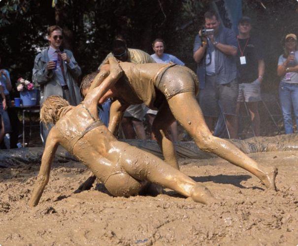 Lesbian mud wrestiling naughty Cum