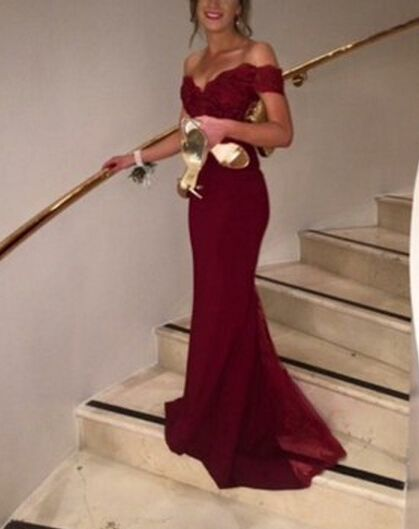 Prom Gown,Pretty Off Shoulder Chiffon Burgundy Prom Dresses With Lace, Evening Gowns, Formal Dresses on Luulla