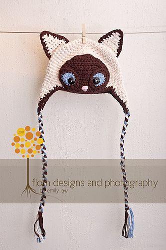 Siamese Cat Hat by Crochet by Jennifer