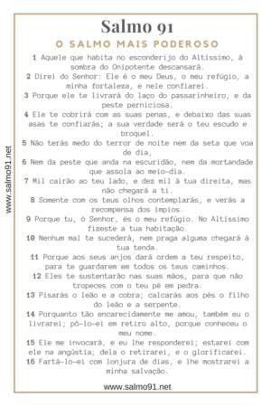 O Salmo 91 Completo → LEIA AQUI ♪ Cantado ✓ Imagens ✓ Para imprimir ✓ PDF ✓ Católico ✓ Evangélico ✓ Amor ✓ Trabalho ✓ Saúde ✓ Faça seu pedido AQUI.