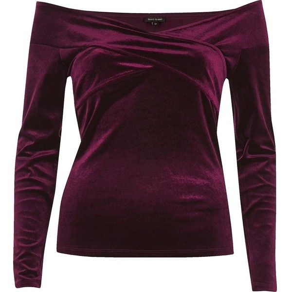 River Island Burgundy velvet bardot wrap top (£42) ❤ liked on Polyvore featuring tops, red, red velvet top, purple top, open shoulder top, long sleeve velvet top and red long sleeve top