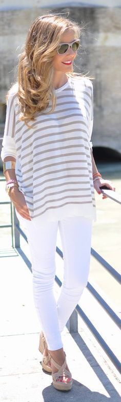 White jeans, white and beige striped sweater + lightweight sweater perfect for Summer nights.