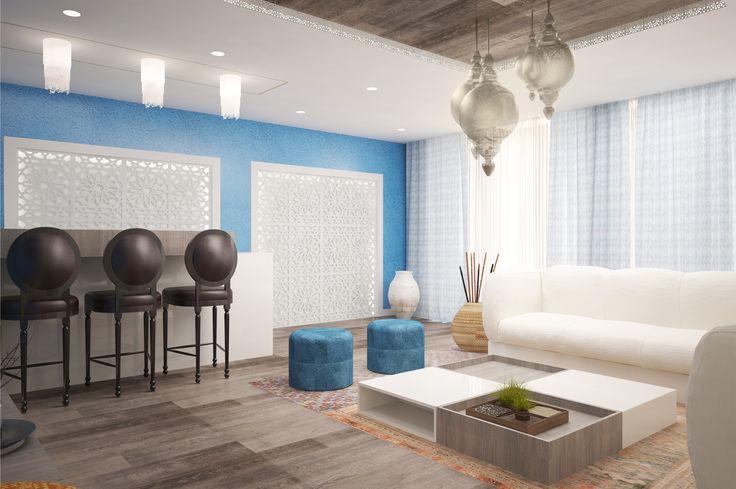 #white #emeraldgreen #beige #livingroom #lights #curtains #spots #sofa #chairs #coffeetable #shelves #wood #plants #skyblue #bigwindows #burntsiennachairs #ceilinglamp #kitchen
