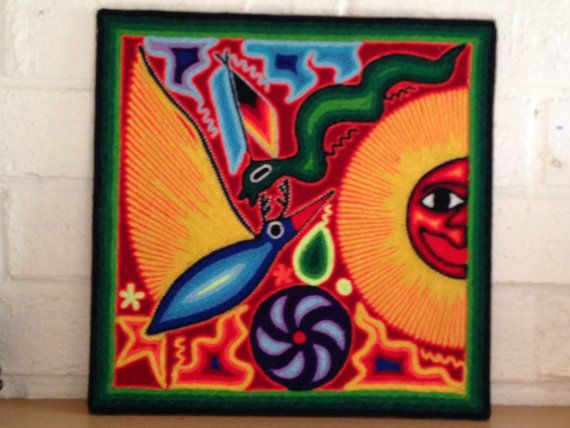 Handmade Huichol Yarn Painting Mexican Traditional by OjoDeVenado