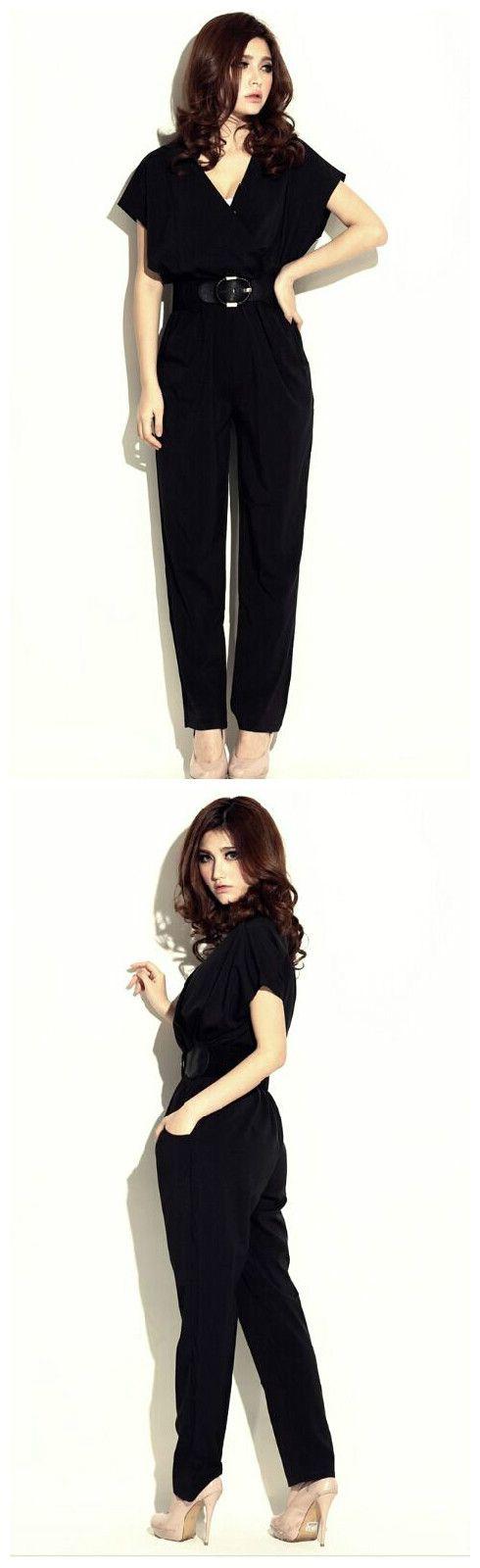 Korean Fall Fashion Women Short Sleeve V Neck Pockets Jumpsuits