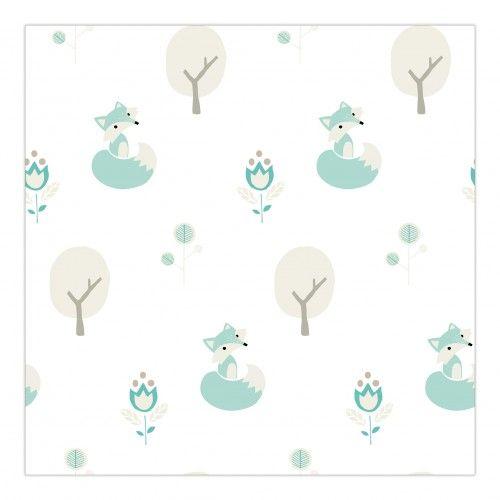 Kinderkamer behang met vosjes en boompjes | Roodborstje