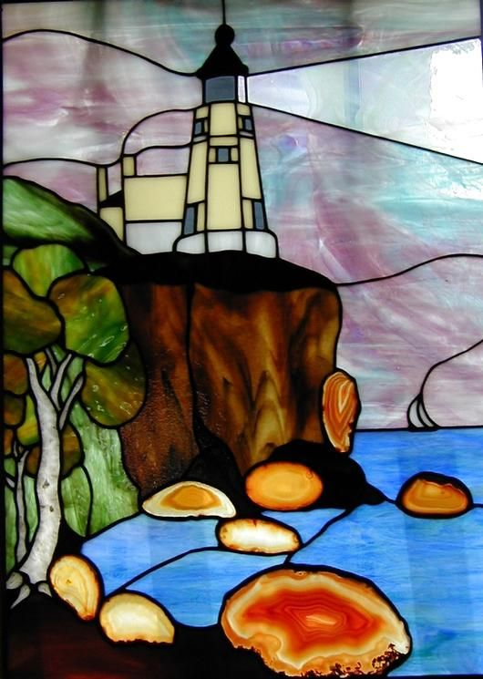 Lighthouse stained glass window.
