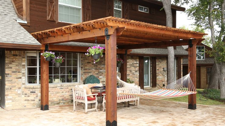 Outdoor Living Pergola Built Using Post Bases Rafter