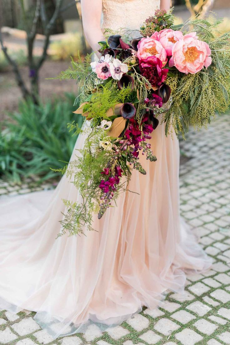 Organic, Whimsical Cascading Wedding Bouquet : Pink, blush and red trailing blooms and ferns including peonies, poppies, and wildflowers. Jack And Jane