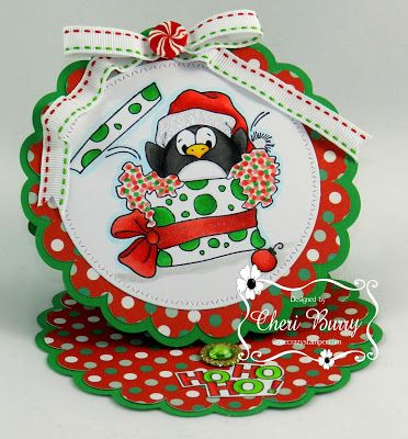ONECRAZYSTAMPER.COM: What's in the Christmas Present?? by Cheri using High Hopes Stamps Penguin Surprise (SS005UM)