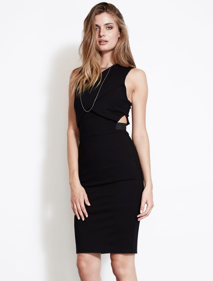 ISLA THE HAUTE DRESS from The Source Collection. This LBD is bang on trend this season thanks to the precision cut outs at the ribs, giving just a hint of skin, whilst remaining modest and totally flattering. Cut at the knee, this figure skimming bodycon dress has interesting cross-over chest panels. Cut for a slim fit with concealed zip and hook fastening. Available www.talulah.com.au