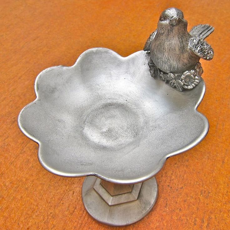 Faux Silver Birds and Flowers Pedestal Bowl