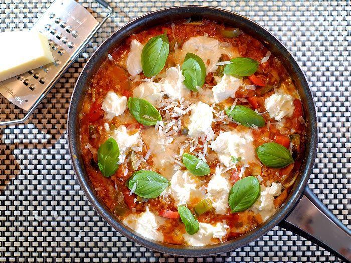 Lasagne uit de pan met courgette, prei, paprika en mozzarella