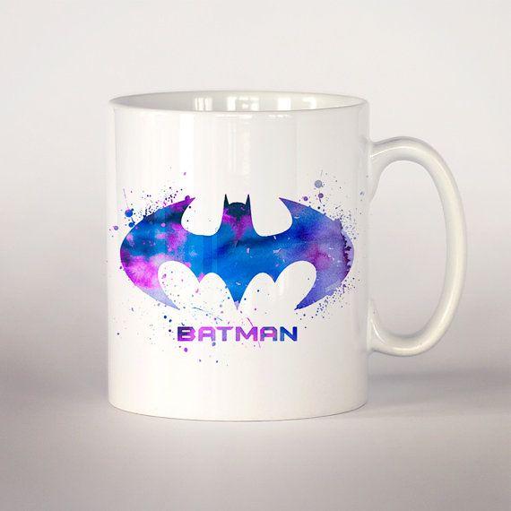 Batman coffee mug 3 Batman watercolor Tea Cup coffee by VividCity