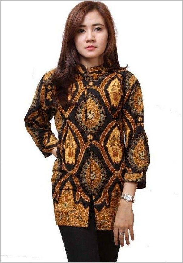 10 Model Baju Batik Wanita Lengan Panjang Terbaru -