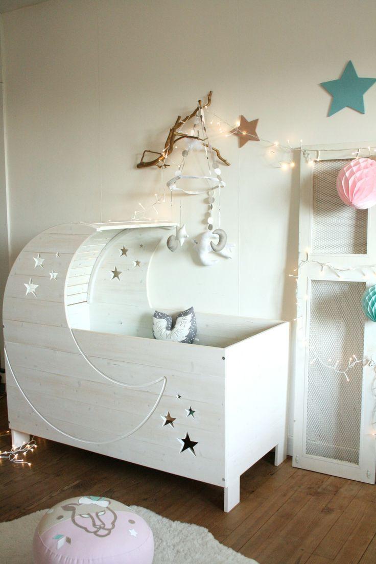 Wooden Moon & Stars Crib