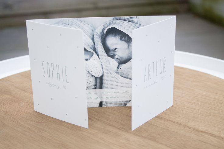 Zoek je een geboortekaartje voor een tweeling? Dit rustige tweelingkaartje voor een jongen en meisje is heel tof! Als je van een rustige basis houdt, met een mooie groene kleur, driehoekjes en een foto zit je met dit kaartje goed! Ontwerp door Leesign - www.leesign.nl #leesign #geboortekaartje #tweelingkaart #tweeling #tweelingkaartje #geboortekaart #geboortekaartjes #driehoekjes #triangle #birth #announcement #twin #twins #earlydew