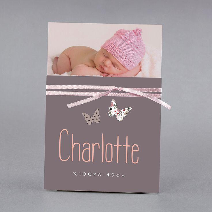 Faire-part de naissance personnalisés, faire-partclassique, papillons, liberty fpc